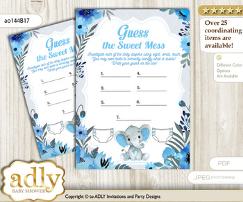 Elephant Boy Dirty Diaper Game or Guess Sweet Mess Game for a Baby Shower Blue Gray, Floral