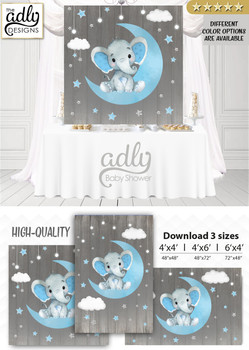 Moon Elephant Backdrop for Baby Shower candy table, Birthday Party,Baby Blue Gray Peanut, Moon, Stars, Digital Backdrop 4x4, 4x6