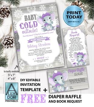 Peanut Elephant Invitation in Purple & Gray with FREE book Request & Diaper Raffle