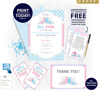 All Star Neutral Shoe Baby Shower Invitation card, pink blue sports, polka dots with free bookrequest diaper raffle and thank you