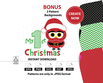 Owl My first christmas clipart,digtal clipart svg, baby's 1st christmas, owl santa hat clipart, Christmas holiday owls, holidays clipart