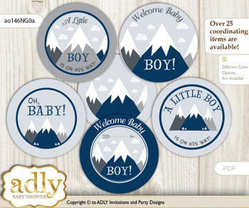 Baby Shower Mountain Boy Cupcake Toppers Printable File for Little Mountain and Mommy-to-be, favor tags, circle toppers, Blue Gray, Adventure