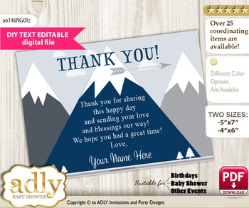 DIY Mountain Boy Thank you Card, Text Editable customizable wording, for Baby Shower or Birthday Party