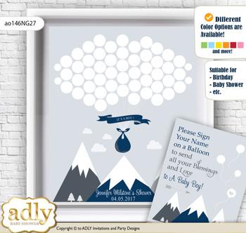 Mountain Boy Guest Book Alternative for a Baby Shower, Creative Nursery Wall Art Gift, Adventure , Blue Gray
