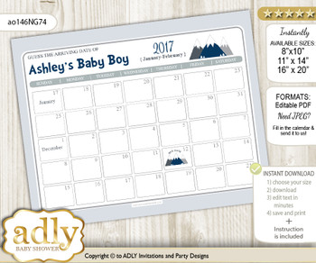 DIY Mountain Boy Baby Due Date Calendar, guess baby arrival date game