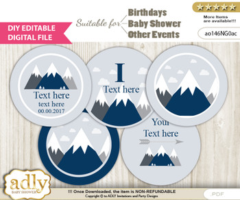 DIY Text Editable Mountain Boy Cupcake Toppers Digital File, print at home, suitable for birthday, baby shower, baptism