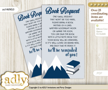 Request a Book Instead of a Card for Mountain Boy Baby Shower or Birthday, Printable Book DIY Tickets, Blue Gray, Adventure