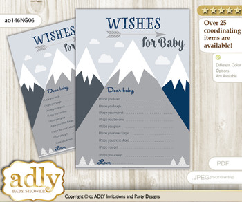 Mountain Boy Wishes for a Baby, Well Wishes for a Little Boy Printable Card, Blue Gray, Adventure