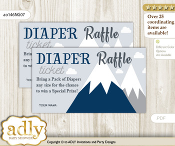 Mountain Boy Diaper Raffle Printable Tickets for Baby Shower, Adventure , Blue Gray