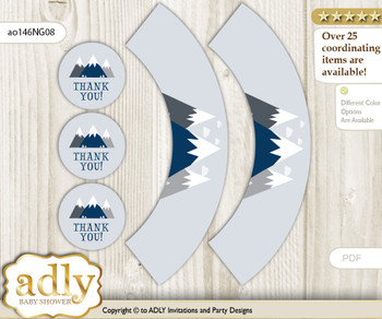 Printable Mountain Boy Cupcake, Muffins Wrappers plus Thank You tags for Baby Shower Adventure , Blue Gray