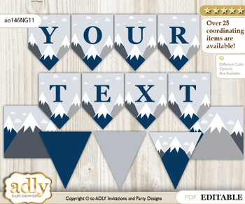 DIY Personalizable Mountain Boy Printable Banner for Baby Shower, Adventure , Blue Gray
