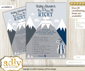 Printable Mountain Boy Price is Right Game Card for Baby Boy Shower, Adventure , Blue Gray