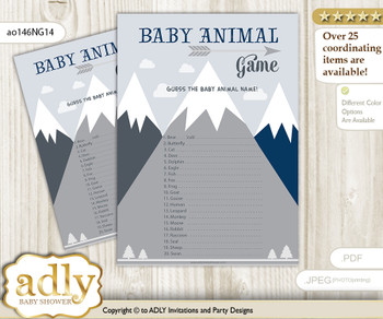 Printable Mountain Boy Baby Animal Game, Guess Names of Baby Animals Printable for Baby Boy Shower, Adventure , Blue Gray