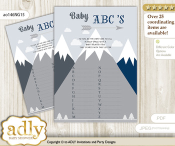 Mountain Boy Baby ABC's Game, guess Animals Printable Card for Baby Boy Shower DIY – Blue Gray