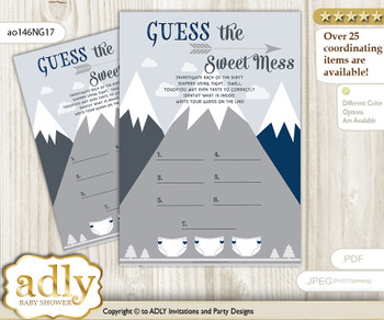 Mountain Boy Dirty Diaper Game or Guess Sweet Mess Game for a Baby Shower Adventure , Blue Gray