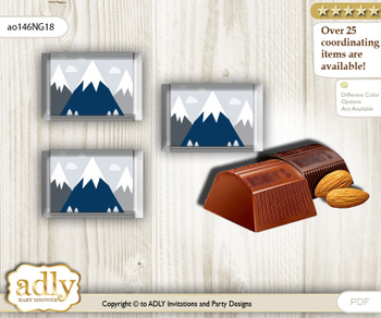 Mountain Boy Chocolate Nuggets Candy Wrapper Label for Baby Mountain Shower  Adventure  , Blue Gray