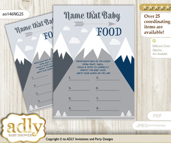 Mountain Boy Guess Baby Food Game or Name That Baby Food Game for a Baby Shower, Adventure  Blue Gray