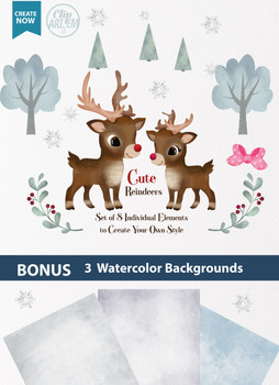 Watercolor Reindeers boy and girl digital clipart with 8 elements,Commercial Use,red nose reindeer digital clipart instant download antique reindeer graphics