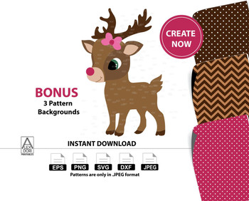 Girl Reindeer clipart,girl reindeer with bow tie, digtal clipart Commercial Use,red nose reindeer digital clipart instant download antique reindeer graphics