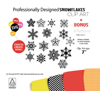 Winter Snowflake clipart, Snowflake svg, snowflake digital download snowflake svg,png,esp,dxf with 4 background patterns, Intricate SnowFlakes
