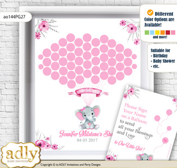 Elephant Girl Guest Book Alternative for a Baby Shower, Creative Nursery Wall Art Gift, pink gray, Rustic nn