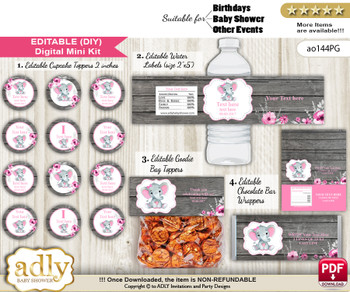DIY Text Editable Elephant Girl Baby Shower, Birthday digital package, kit-cupcake, goodie bag toppers, water labels, chocolate bar wrappers nn