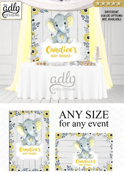 Peanut Elephant Backdrop for Baby Shower in Yellow & Gray with Floral Boarder - ANY SIZE
