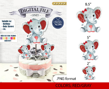 Peanut Elephant Centrepiece for Girl Baby Shower in Red & Gray PNG - 3 Sizes