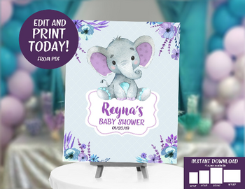 Peanut Elephant Sign for Girl Baby Shower in Lavender & Teal with Floral Design