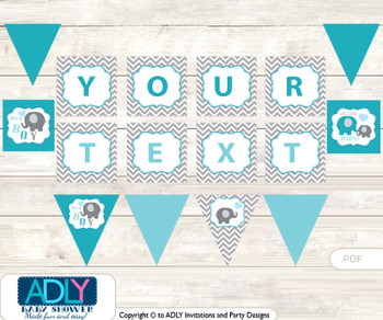 Personalized  Boy Elephant Printable Banner for Baby Shower, Turquoise,  Chevron
