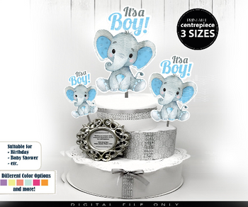 Peanut Elephant Centrepiece for Boy Baby Shower in Blue & Gray PNG - 3 Sizes