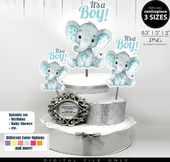 Peanut Elephant Centrepiece for Baby Boy Shower in Teal & Gray PNG - 3 Sizes