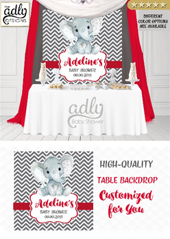 Peanut Elephant Backdrop for Baby Shower in Red & Gray with Floral Boarder - ANY SIZE