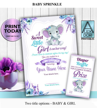 Peanut Elephant Invitation for Girl Baby SPRINKLE in lavender & Teal with FREE Diaper Raffle