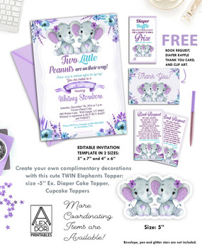 Twin Elephants Purple Turquoise Baby Shower Invitation Printable Invitation - Peanuts Invite-Girl Elephant Baby Shower-FREE Diaper Raffle