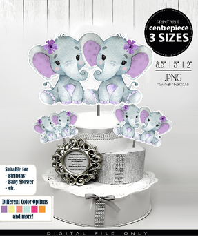 Twins Peanut Elephant Centrepiece for Baby Girl Shower in Lavender & Gray PNG - 3 Sizes