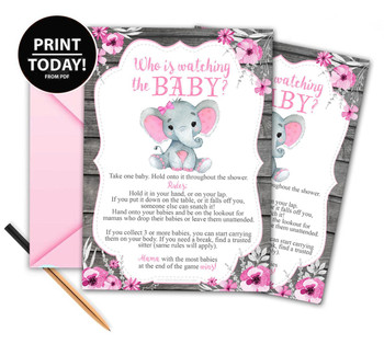 Guess who is watching the baby game peanut elephant, girl baby shower games, fun shower games, guess who,baby shower games, printable games