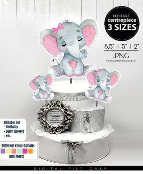 Peanut Elephant Sleeping  Centrepiece for Baby Girl Shower in Light Pink & Gray with Hair Bow PNG - 3 Sizesm closed eyes with lashes,birthday