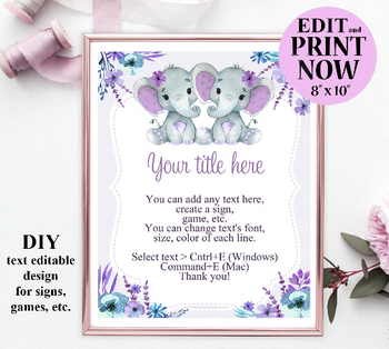 Twins Elephant Sign Template for games, table sign, wall art for twins baby shower,birthday, purple,teal printables, two girls, babies