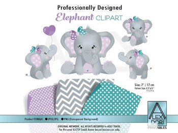 Girl Elephant Clip art, Baby Girl Purple,Teal Turquoise peanut clip art, png file. Nursery, Baby Shower,birthday, commercial use, lavender