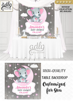 Cute elephant backdrop, girl baby shower, gray and pink, stars twinkle, digital backdrop,party backdrop, elephant sign, elephant table sign