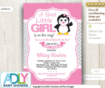 Pink and Gray baby girl penguin baby shower invitation.
