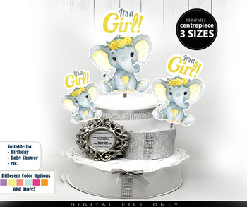 Peanut Elephant Centrepiece with Floral Crown for Baby Girl Shower in Yellow & Gray PNG - 3 Sizes