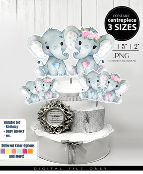 Twin Elephants Centrepiece with Floral Crown for Baby Girl and Baby Boy, Shower in Pink Blue & Gray PNG - 3 Sizes