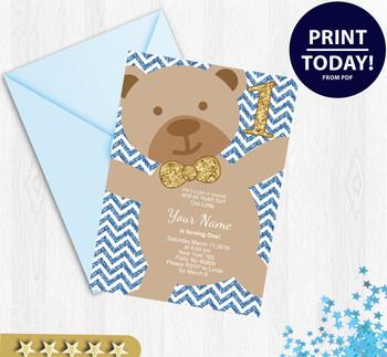 Boy Bear Birthday Invitation, Bear Birthday Invitations,chevron background, bear birthday party,My 1st birthday, digital invitation,printables