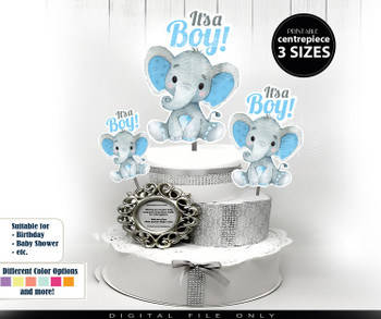 Elephant Centerpiece in Mint Blue diaper topper design, digital elephant clip art for baby shower decoration, birthday, baby sprinkle, decor