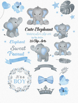 Watercolor Elephant clipart in blue and gray 25 different styles.