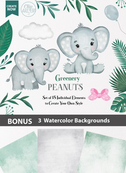 Greenery Peanut Elephants watercolor clipart in 15 different styles, set of elephants clipart, with 3 watercolor background