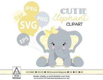 Cute Baby Elephant Girl Yellow-Grey Clipart