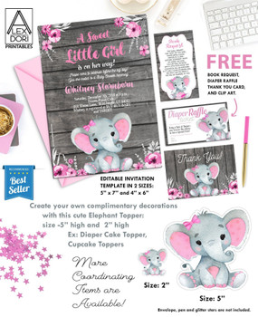 Pink Elephant with bow on wooden backrgound and watercolor flowers. Editable invitation template and free book request,  diaper raffle and thank you card.
